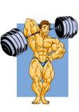 Muskulös kroppsbyggare som poserar med en skivstång Arkivbild