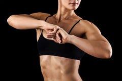 Muskulös kvinnlig huvuddel Arkivbild