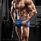 Muskulös man i idrottshall, kroppsbyggare Stark manlig naken torsoabs som utarbetar arkivbilder