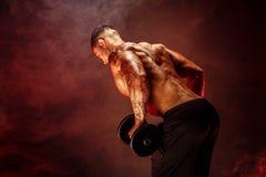 Muskulös man med hantlar som gör övningar Foto av den starka mannen med den nakna torson på vit bakgrund Royaltyfri Fotografi