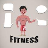Muskulös man som framlägger med anförandebubblor Fotografering för Bildbyråer