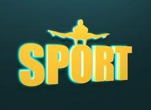 Muskulös man som poserar på sportord Utklippkontur vektor illustrationer