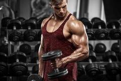 Muskulös man som utarbetar i idrottshallen som gör övningar med hantlar, stark man royaltyfri fotografi
