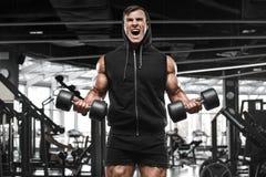 Muskulös man som utarbetar i idrottshallen som gör övningar, stark manlig kroppsbyggare royaltyfri fotografi