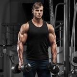Muskulös man som utarbetar i idrottshallen som gör övningar, stark manlig torso royaltyfri bild