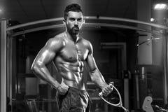 Muskulös man som utarbetar i idrottshallen som gör övningar, stark manlig naken torsoabs royaltyfria bilder