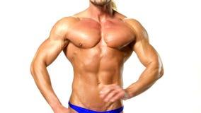 Muskulös och sexig torso av den unga mannen, bodybulider arkivfilmer