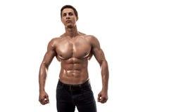 Muskulös stilig ung man med den nakna torson bakgrund isolerad white kopiera avstånd Arkivbilder