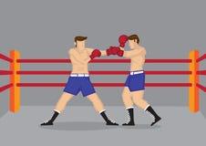 Muskulösa boxare som slåss, i att boxas Ring Vector Illustration Arkivfoto