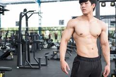 Muskulösa mannen som den har, smärtar på skuldra i idrottshall den unga mannen sårar royaltyfri fotografi