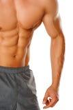 Muskulöse männliche Karosserie getrennt auf Weiß Lizenzfreies Stockfoto
