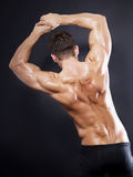Muskulöse Mannesrückseite auf schwarzem Hintergrund Stockfotografie