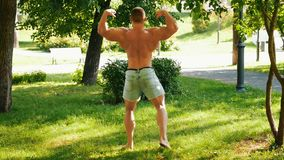 Muskulöse Manntrainings im Park am sonnigen Tag stock footage