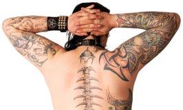 Muskulöse Rückseite mit Tätowierung Lizenzfreies Stockfoto