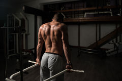 Muskulöse vorbildliche Doing Heavy Weight-Übung für Trapezius Lizenzfreies Stockbild