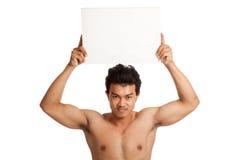 Muskulöser asiatischer Mann mit leerem Zeichen Lizenzfreie Stockfotos