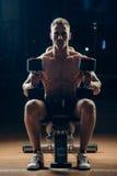 Muskulöser Bodybuilder des Athleten, der zurück mit ausbildet Lizenzfreie Stockfotos
