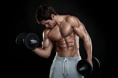 Muskulöser Bodybuilderkerl, der Übungen mit Dummköpfen tut stockfotos