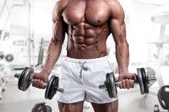 Muskulöser Bodybuilderkerl, der Übungen mit Dummkopf tut stockfoto