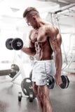 Muskulöser Bodybuilderkerl, der Übungen mit Dummkopf tut stockbilder