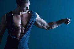 Muskulöser Erbauer der männlichen Karosserie Lizenzfreies Stockfoto