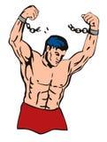 Muskulöser Geck, der frei bricht lizenzfreie abbildung
