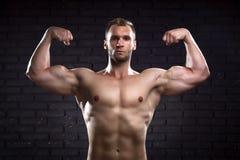 Muskulöser gutaussehender Mann Stockfotografie