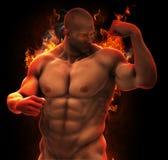 Muskulöser Held des Bodybuilders im Feuer Lizenzfreies Stockfoto