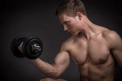 Muskulöser junger Mann, der Übung mit Dummköpfen tut Stockfotos