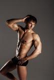 Muskulöser männlicher vorbildlicher Bodybuilder vor der Ausbildung Atelieraufnahme an Stockfotos