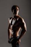 Muskulöser männlicher vorbildlicher Bodybuilder vor der Ausbildung Atelieraufnahme an Lizenzfreie Stockfotografie