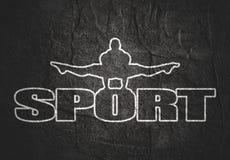 Muskulöser Mann, der auf Sportwort aufwirft Stockbilder