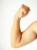 Muskulöses Armbiegen Stockfoto