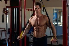 Muskulöses Bodybuildertraining des Athleten Lizenzfreie Stockbilder
