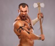 Muskulöses männliches Portrait des alten Kriegers Lizenzfreies Stockbild