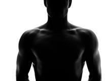 Muskulöses Schattenbild eines jungen Mannes Stockfotografie