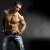 muskulöst barn för man Arkivfoton