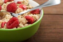 Musli with fresh raspberry Royalty Free Stock Image