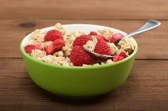 Musli with fresh raspberry Royalty Free Stock Photo