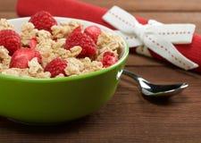 Musli with fresh raspberry Royalty Free Stock Photography