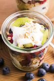 Musli served with joghurt and fresh fruits Royalty Free Stock Photo