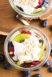 Musli served with joghurt and fresh fruits Stock Image