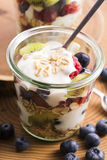 Musli served with joghurt and fresh fruits Stock Images