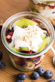 Musli served with joghurt and fresh fruits Stock Photos