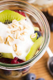 Musli served with joghurt and fresh fruits Royalty Free Stock Image