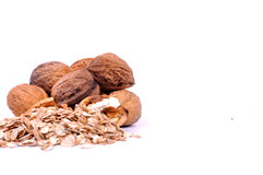Musli and walnuts healty breakfast Royalty Free Stock Images