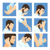 Muslim ablution, purification guide. Step by step position using water. Royalty Free Stock Image