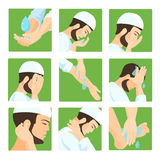 Muslim ablution, purification guide. Step by step position using water. Royalty Free Stock Photos