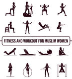 Muslim aerobic icons. 4x4. full color Stock Image
