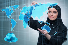 The muslim arab businesswoman in business concept Stock Photos